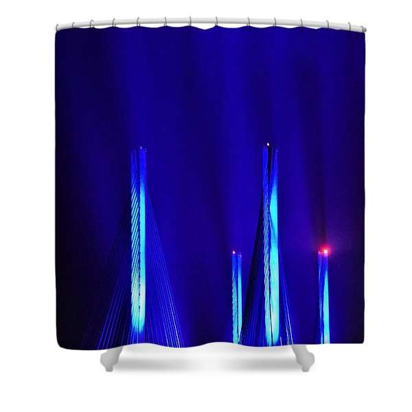Blue Light Rays - Indian River Inlet Bridge Shower Curtain