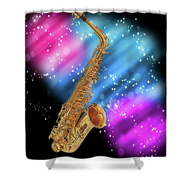 Cosmic Sax Shower Curtain
