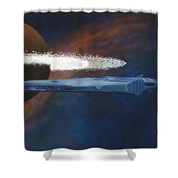 Cosmic Spaceship Shower Curtain