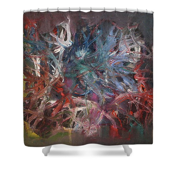 Shower Curtain featuring the painting Cosmic Web by Michael Lucarelli