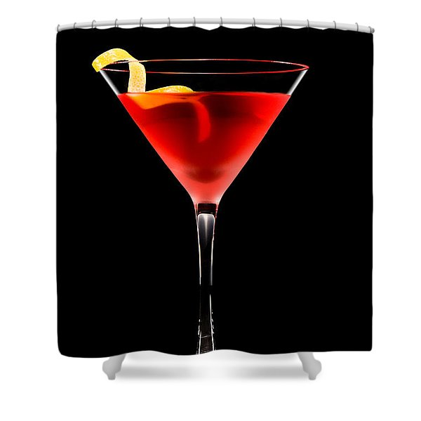 Cosmopolitan Cocktail In Front Of A Black Background  Shower Curtain