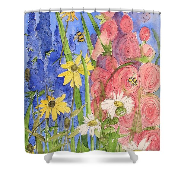 Cottage Garden Daisies And Blue Skies Shower Curtain