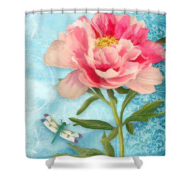 Cottage Garden Pink Peony W Dragonfly Shower Curtain
