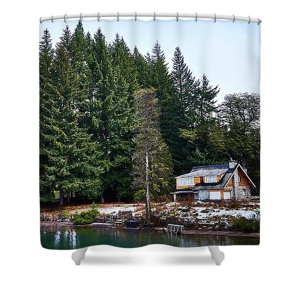 Little Cottage And Pines In The Argentine Patagonia Shower Curtain