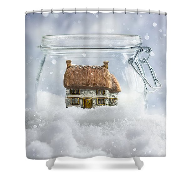 Cottage In Snow Shower Curtain