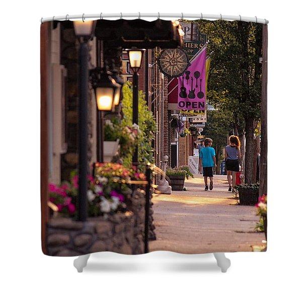 Shower Curtain featuring the photograph Cottage Street Stroll by Sven Kielhorn