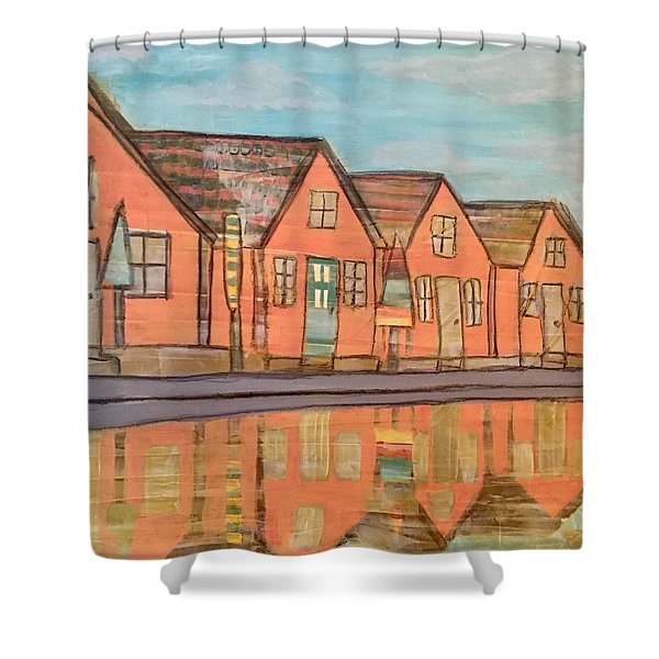 Cottages By The Beach Shower Curtain