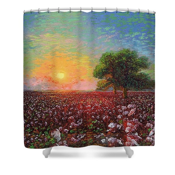 Cotton Field Sunset Shower Curtain