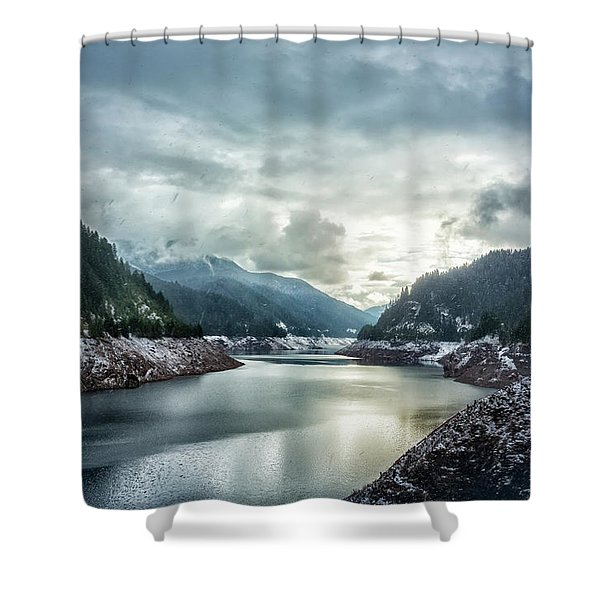 Cougar Reservoir On A Snowy Day Shower Curtain