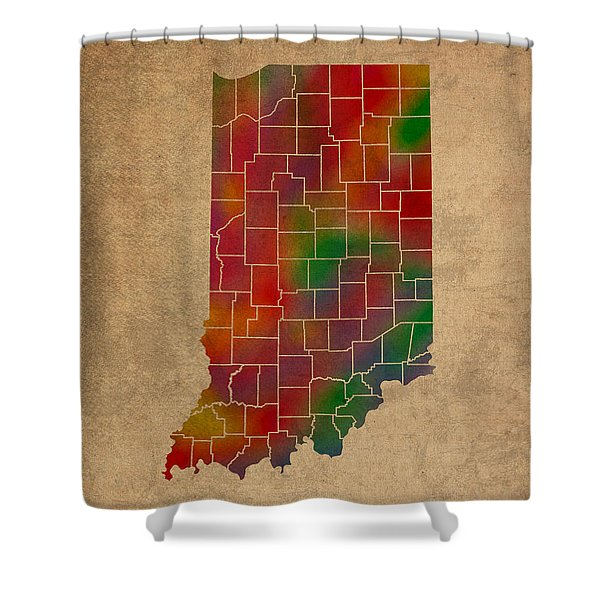 Counties Of Indiana Colorful Vibrant Watercolor State Map On Old Canvas Shower Curtain