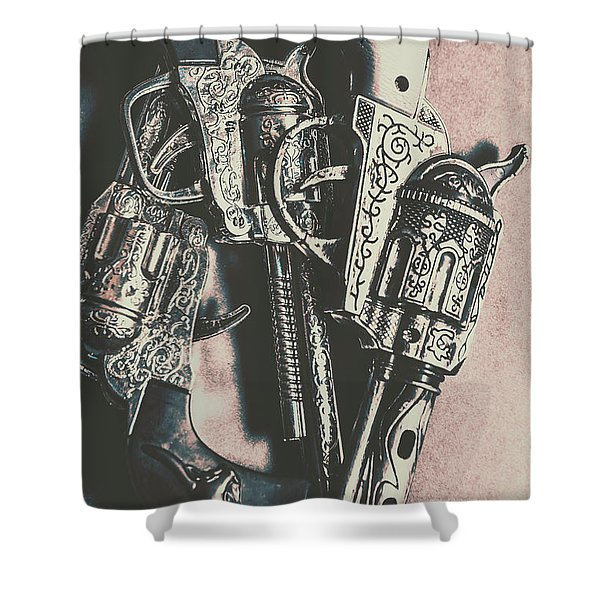 Country And Western Pistols Shower Curtain