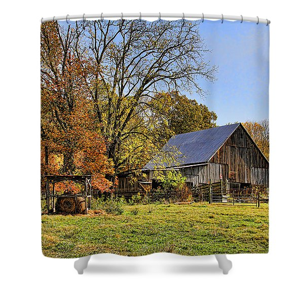 Country Barn And A Pink Flamingo By H H Photography Of Florida Shower Curtain