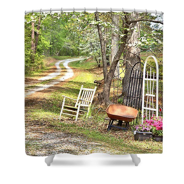 Country Driveway In Springtime Shower Curtain