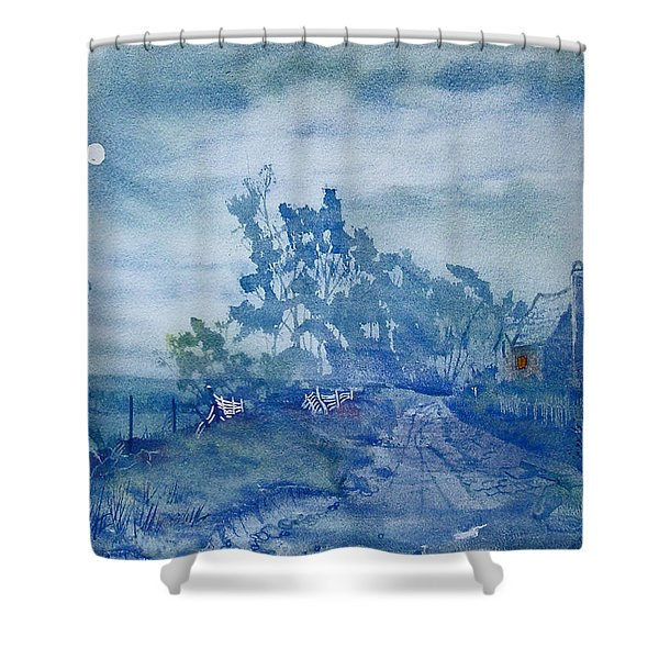 Country Lane By Moonlight Shower Curtain