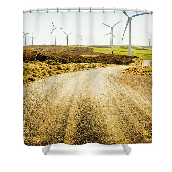 Country Roads And Scenic Windfarms Shower Curtain
