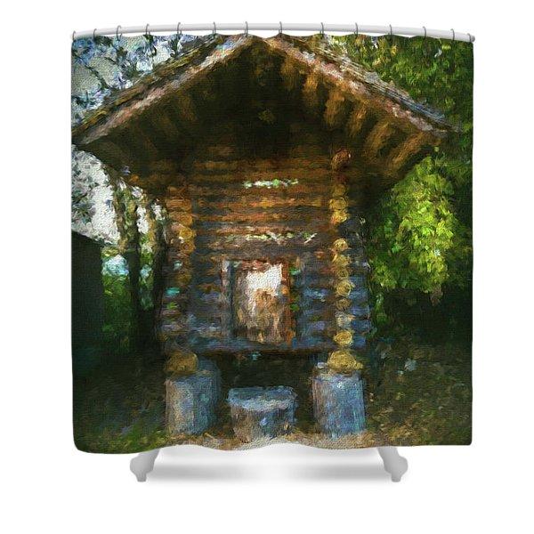 Country Storage Bin Shower Curtain