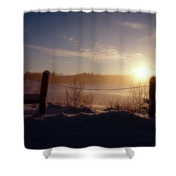 Country Winter Sunset Shower Curtain