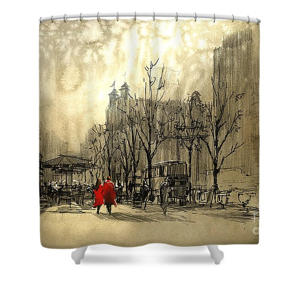 Shower Curtain featuring the painting Couple In City by Tithi Luadthong