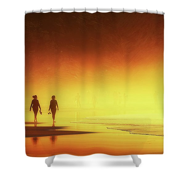Couple Of Women Walking On Beach Shower Curtain