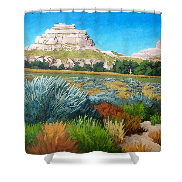 Courthouse And Jail Rocks Acrylic Shower Curtain