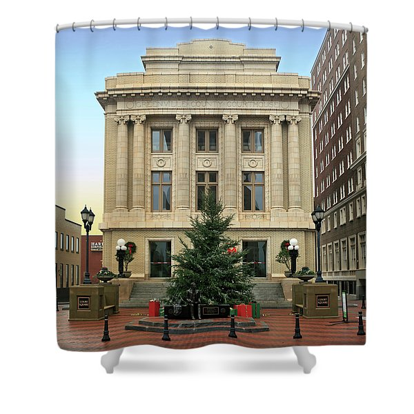 Courthouse At Christmas Shower Curtain