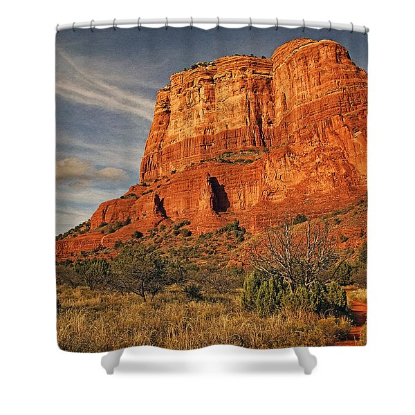 Courthouse Butte Txt Shower Curtain