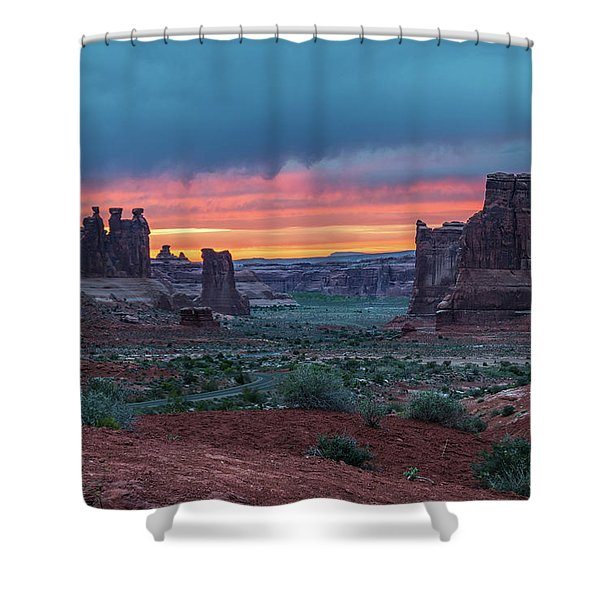 Courthouse Towers Arches National Park Shower Curtain