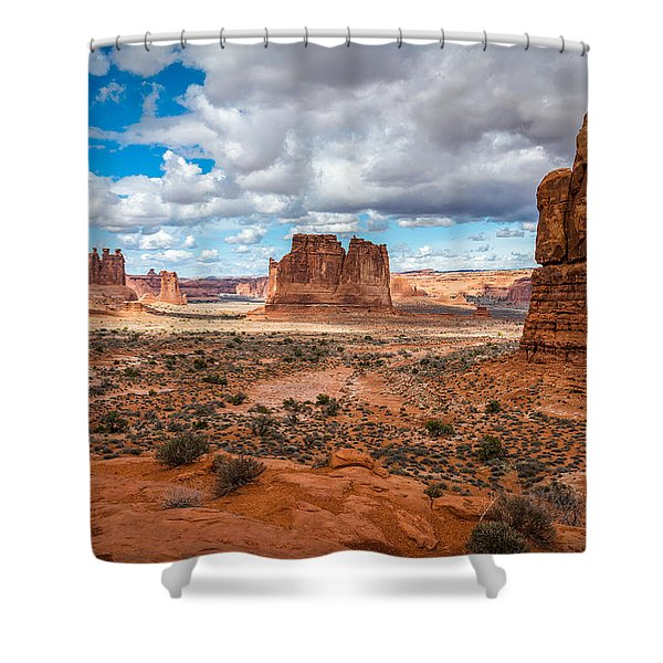 Courthouse Towers At Arches National Park Shower Curtain