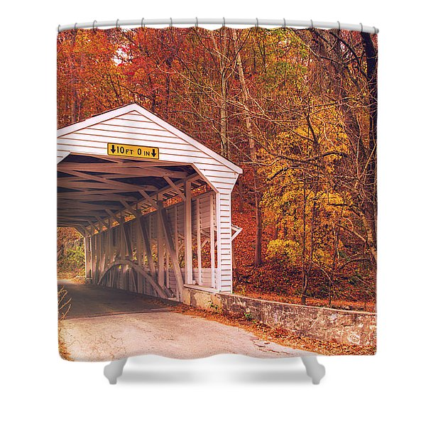 Covered Bridge At Valley Forge Shower Curtain