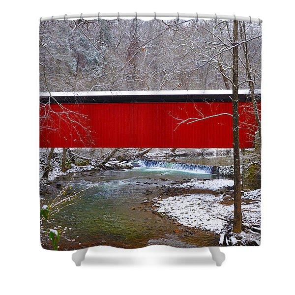 Covered Bridge Along The Wissahickon Creek Shower Curtain