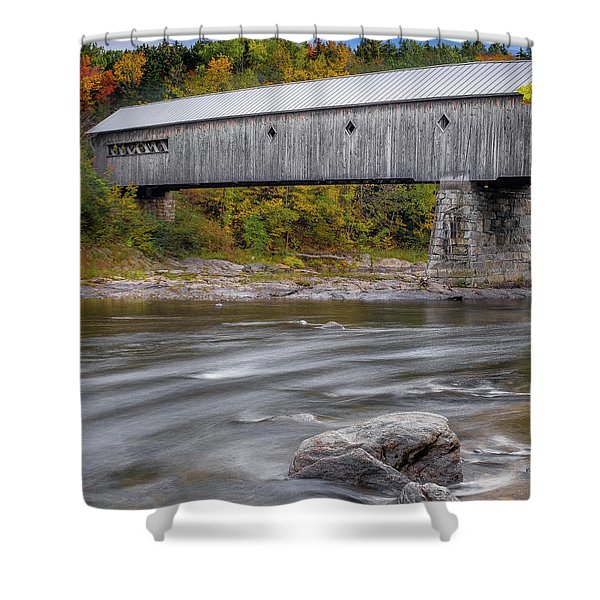 Shower Curtain featuring the photograph Covered Bridge In Vermont With Fall Foliage by Robert Bellomy