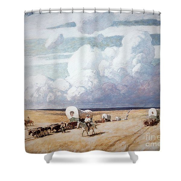 Covered Wagons Heading West Shower Curtain