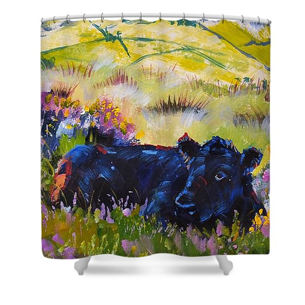 Cow Lying Down Among Plants Shower Curtain