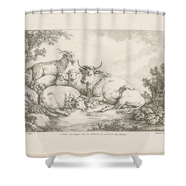 Cow With Sheep And Goats, Balthasar Anton Dunker, After Johann Heinrich Roos, 1769 - 1772 Shower Curtain
