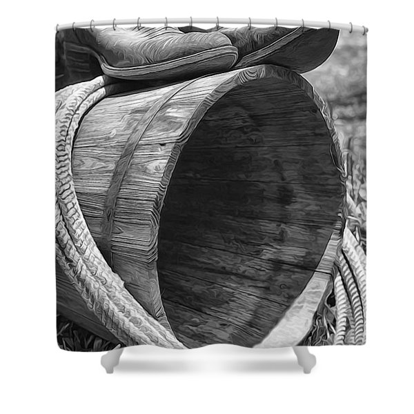 Cowboy Boots In Black And White Shower Curtain