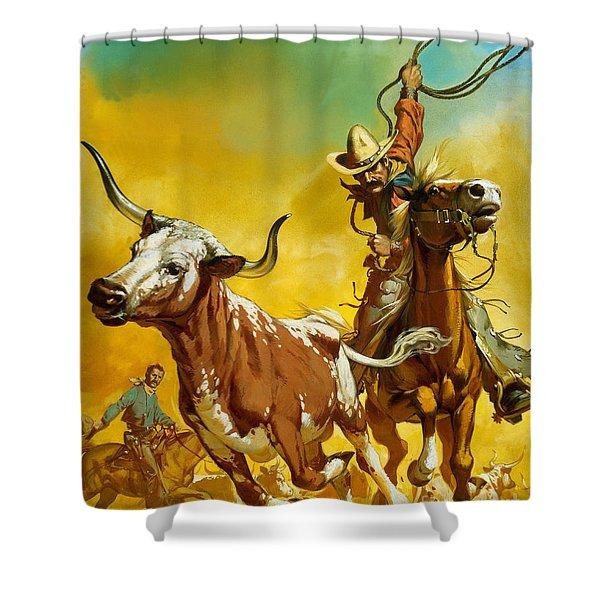 Cowboy Lassoing Cattle  Shower Curtain