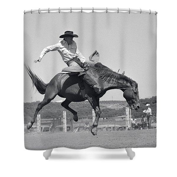 Cowboy On Bucking Horse, C.1950s Shower Curtain