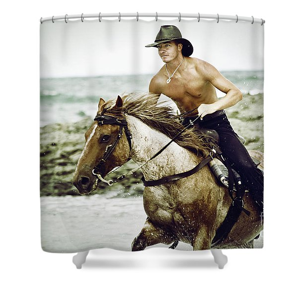 Cowboy Riding Horse On The Beach Shower Curtain