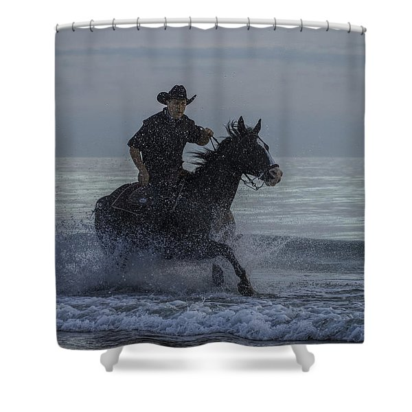 Cowboy Riding In The Surf Shower Curtain