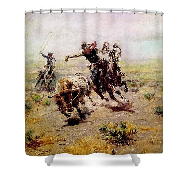 Cowboy Roping A Steer Shower Curtain