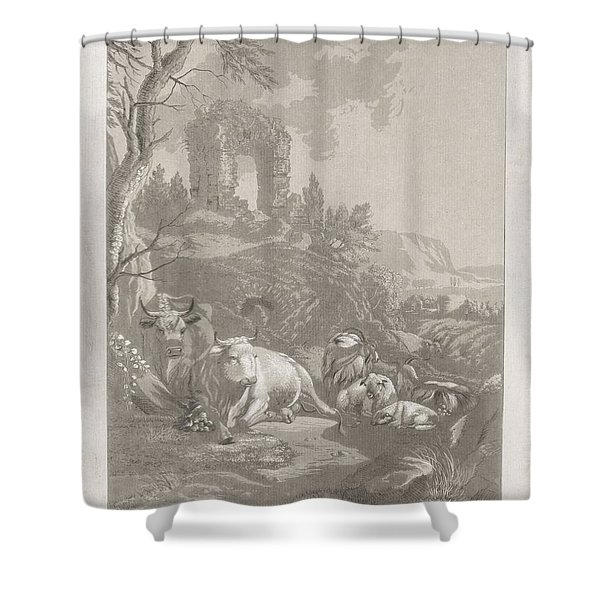 Cows, Goats And Sheep In A Mountainous Landscape With Ruin, Diederik Jan Singendonck, After Christia Shower Curtain