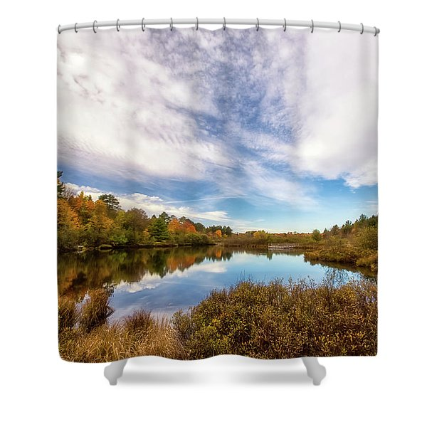 Shower Curtain featuring the photograph Cox Pond 1 by Heather Kenward
