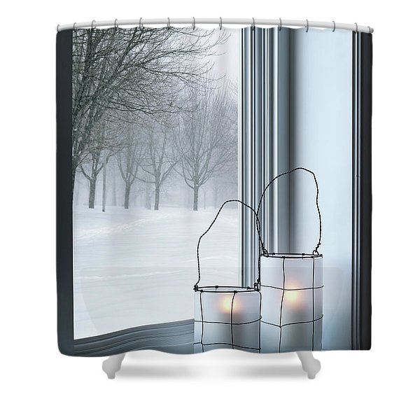 Cozy Lanterns And Winter Landscape Seen Through The Window Shower Curtain