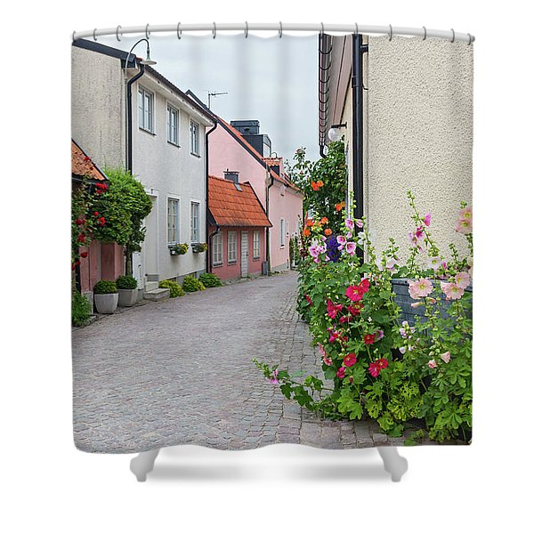 Cozy Street With Blooming Mallows And Roses Shower Curtain