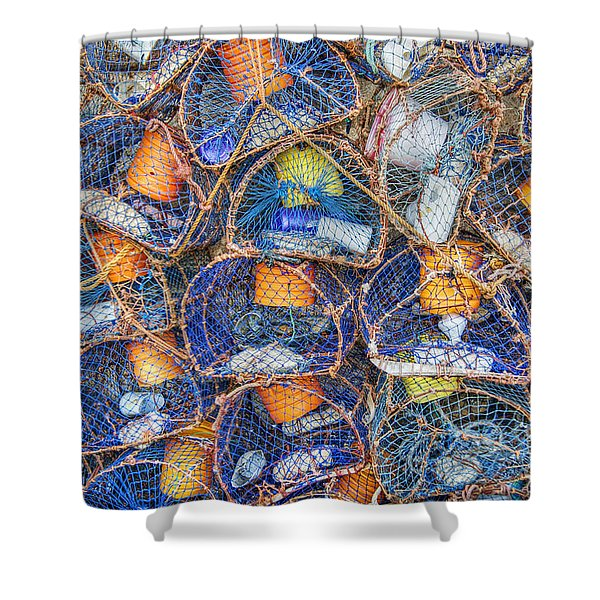 Crab And Lobster Pots On Quayside Shower Curtain