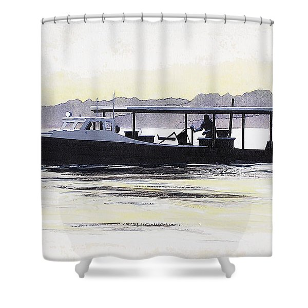 Crab Boat Slick Calm Day Chesapeake Bay Maryland Shower Curtain