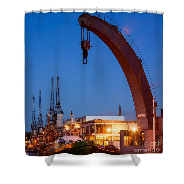 Cranes, Bristol Harbour Shower Curtain