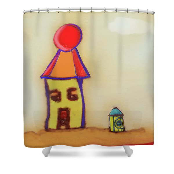 Cranky Clown Cabana And Fire Hydrant Shower Curtain