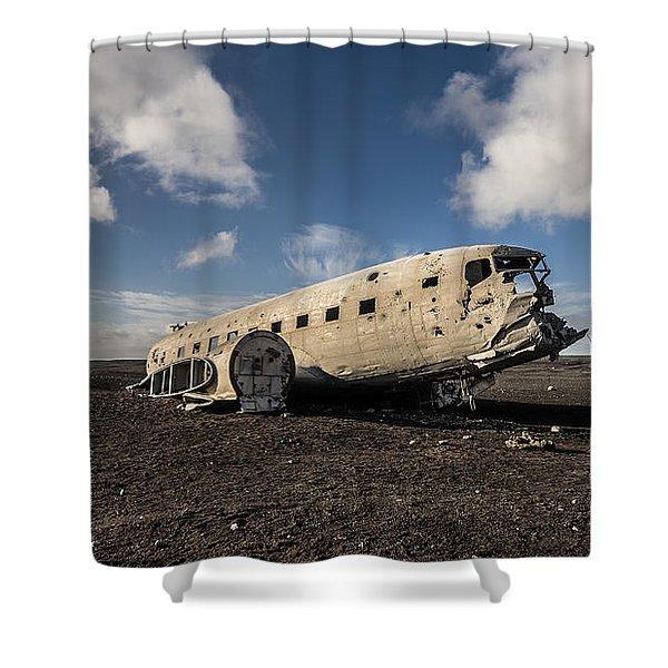 Crashed Dc-3 Shower Curtain