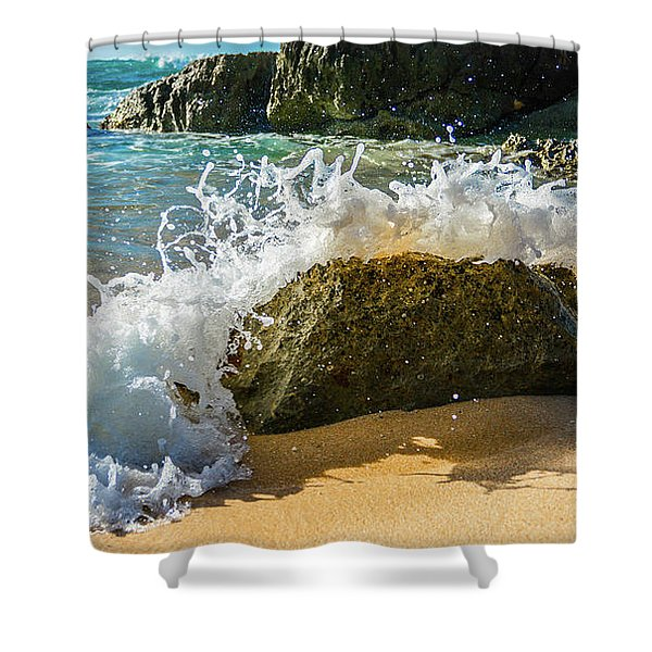 Crashing Over The Rock Shower Curtain